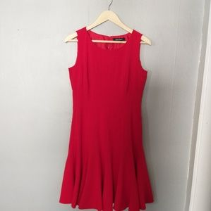 Ellen tracey red a line ruffle dress